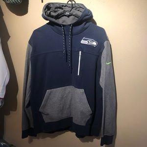 Like new blue and gray Seahawks Nike hoodie